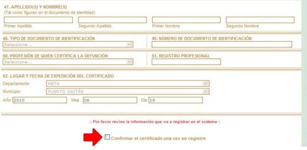 ruaf registro defuncion
