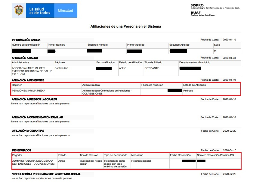 sispro consulta ruaf pensiones